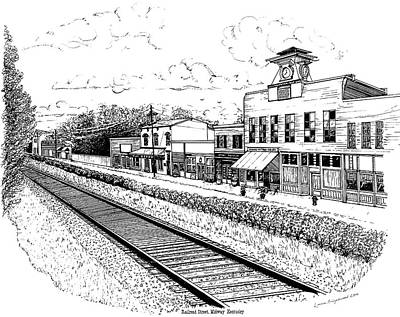 Drawing - Midway Kentucky by Laura Brightwood