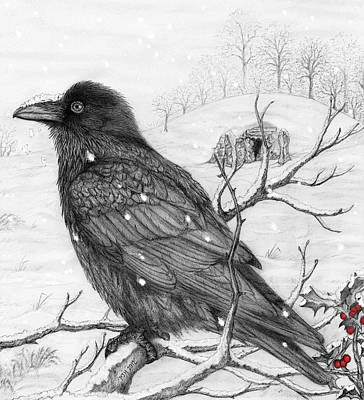 Tombs Mixed Media - Midwinter Raven by Philip Harvey