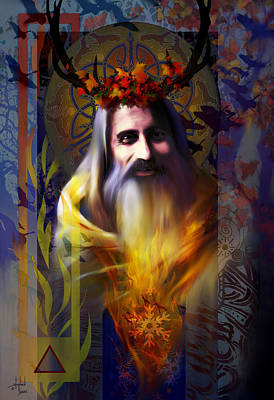 God Mixed Media - Midwinter Solstice Fire Lord by Stephen Lucas