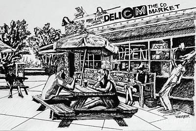 Beer Drawings Royalty Free Images - Midwood Common Market Drawing Royalty-Free Image by Robert Yaeger