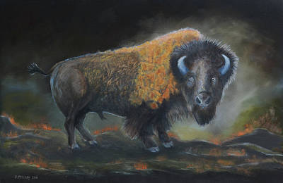 Painting - Mighty Bison by Jerry McElroy