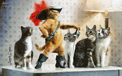 Books Painting - Mighty Cat With Boots by Leonardo Digenio