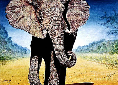 Animals Paintings - Mighty Elephant by Hartmut Jager