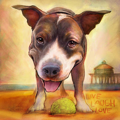 Dog Beach Painting - Live. Laugh. Love. by Sean ODaniels