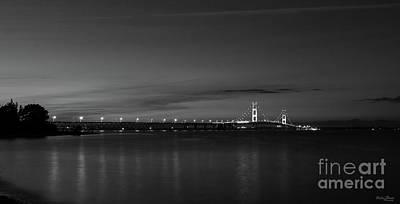 Photograph - Mighty Mac At Night Pano Grayscale by Jennifer White
