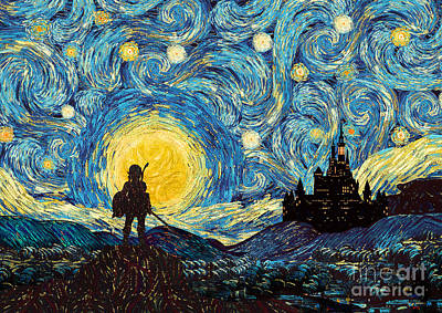 Digital Art - Mighty Warrior At Starry Night by Three Second