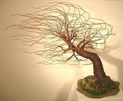 Copper Beads Sculpture - Mighty Wind Swept  - Wire Tree Sculpture    by Sal Villano