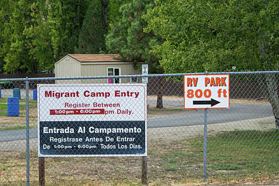 Photograph - Migrant Camp Entry by Tom Cochran