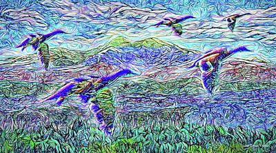 Digital Art - Migrate Beyond The Mountain by Joel Bruce Wallach