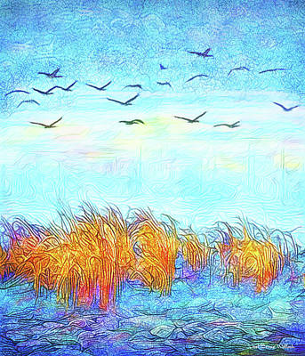 Digital Art - Migration Through The Mist - Boulder Colorado Geese by Joel Bruce Wallach