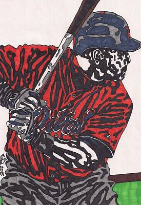 American Baseball Art Drawing - Miguel Caberera 1 by Jeremiah Colley