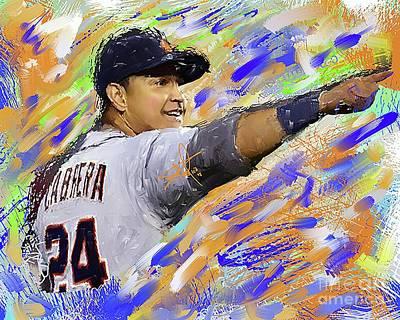 Detroit Tigers Digital Art - Miguel Cabrera Pointing by Donald Pavlica