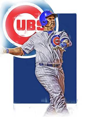Mixed Media - Miguel Montero Chicago Cubs Oil Art by Joe Hamilton