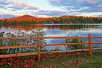 Photograph - Miiror Lake Lake Placid Upstate New York Ny Adirondacks Autumn by Toby McGuire