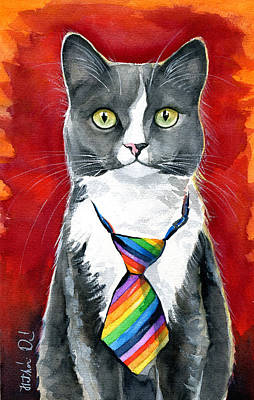 Painting - Mika - Gray Tuxedo Cat Painting by Dora Hathazi Mendes
