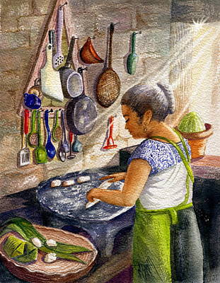 Sun Rays Painting - Mika, The Tamale Maker by Marilyn Smith