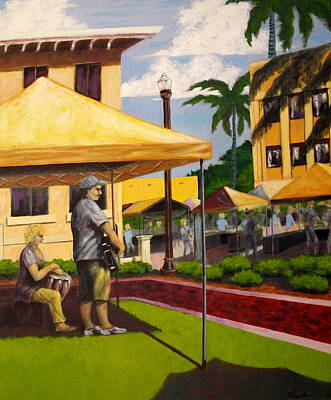 Punta Gorda Painting - Mike And Donna Sing Out by Charles Peck