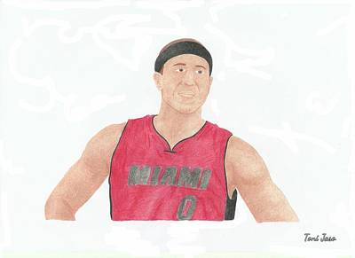 Miami Heat Drawing - Mike Bibby by Toni Jaso
