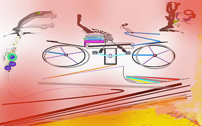 Digital Art - Mike Bike And The Girl 2 by SC Heffner