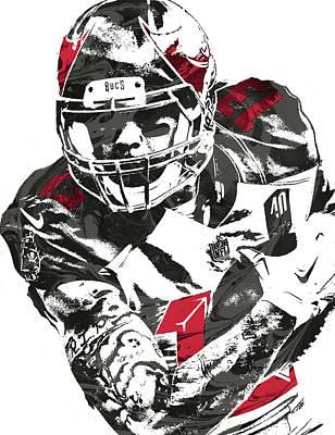 Art Print featuring the mixed media Mike Evans Tampa Bay Buccaneers Pixel Art by Joe Hamilton