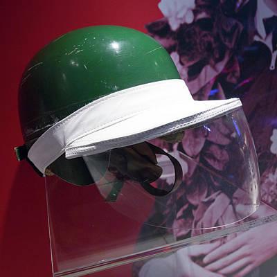 Photograph - Mike Hawthorn Helmet With Rain Visor Museo Ferrari by Paul Fearn