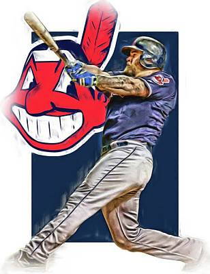 Mixed Media - Mike Napoli Cleveland Indians Oil Art 2 by Joe Hamilton