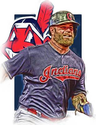 Mixed Media - Mike Napoli Cleveland Indians Oil Art by Joe Hamilton