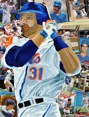 Mets Mixed Media - Mike Piazza by Michael Lee