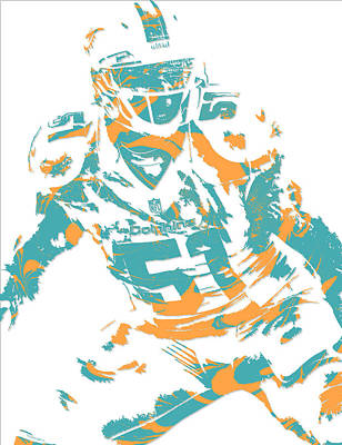 Dolphin Mixed Media - Mike Pouncey Miami Dolphins Pixel Art 1 by Joe Hamilton