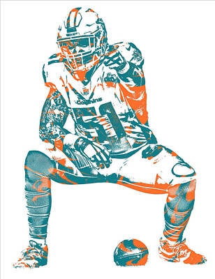 Mixed Media - Mike Pouncey Miami Dolphins Pixel Art 5 by Joe Hamilton