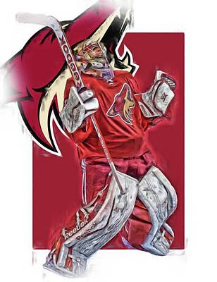 Mixed Media - Mike Smith Arizona Coyotes Oil Art by Joe Hamilton