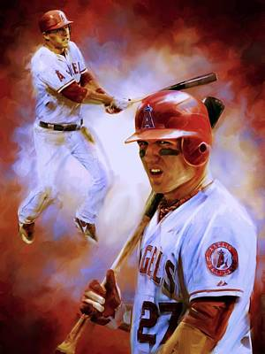 Slugger Painting - Mike Trout by Christian Podgorski