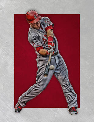 Los Angeles Mixed Media - Mike Trout Los Angeles Angels Art 1 by Joe Hamilton