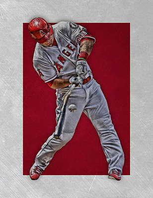Mixed Media - Mike Trout Los Angeles Angels Art 2 by Joe Hamilton