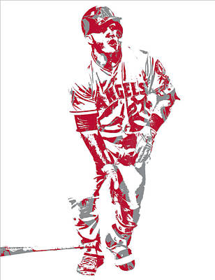 Mixed Media - Mike Trout Los Angeles Angels Pixel Art 10 by Joe Hamilton