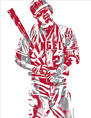 Mixed Media - Mike Trout Los Angeles Angels Pixel Art 12 by Joe Hamilton
