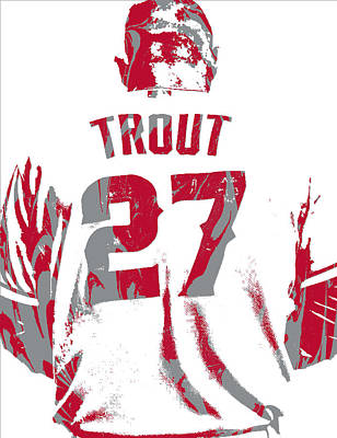 Mixed Media - Mike Trout Los Angeles Angels Pixel Art 13 by Joe Hamilton