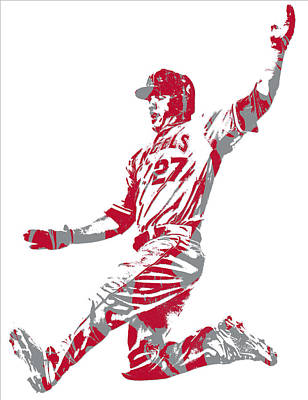 Mixed Media - Mike Trout Los Angeles Angels Pixel Art 14 by Joe Hamilton