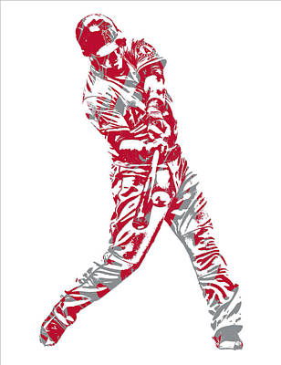 Mixed Media - Mike Trout Los Angeles Angels Pixel Art 15 by Joe Hamilton