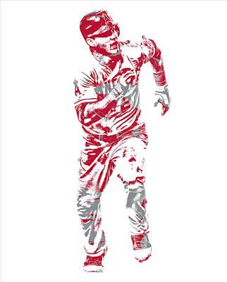 Trout Mixed Media - Mike Trout Los Angeles Angels Pixel Art 21 by Joe Hamilton