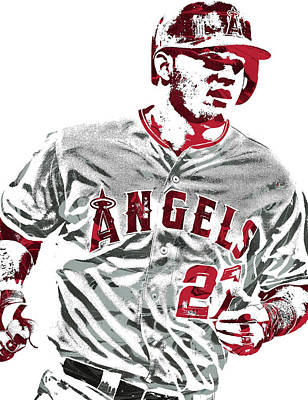 Los Angeles Mixed Media - Mike Trout Los Angeles Angels Pixel Art 6 by Joe Hamilton