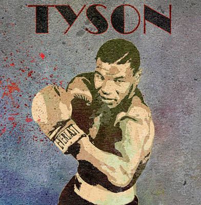 Fighter Mixed Media - Mike Tyson Concrete Grunge by Dan Sproul