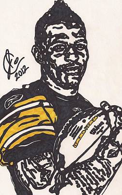 Steelers. Illustration Drawing - Mike Wallace 4 by Jeremiah Colley