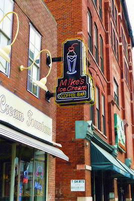 Downtown Nashville Painting - Mike's Ice Cream And Coffee Bar by Sandy MacGowan