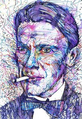 Painting - Mikhail Bulgakov - Watercolor Portrait.2 by Fabrizio Cassetta