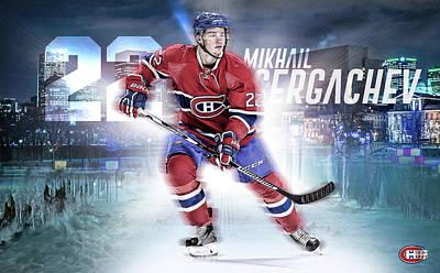Montreal Canadiens Digital Art - Mikhail Sergachev Artwork by Nicholas Legault