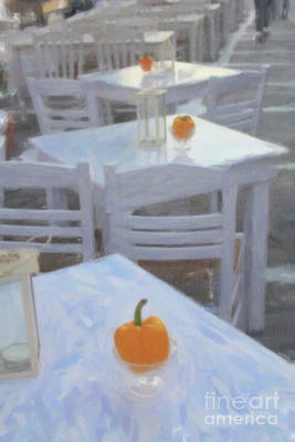 Digital Art - Mikonos Cafe Tables by Donna L Munro