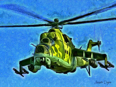 Fly Painting - Mil Mi 25 by Leonardo Digenio