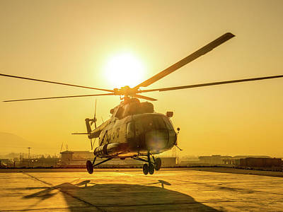 Photograph - Mil Mi-8 Hip At Sunrise by SR Green