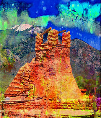Painting - Milagro Cloud Angels Over Taos Pueblo Old Church 2 by Anastasia Savage Ealy